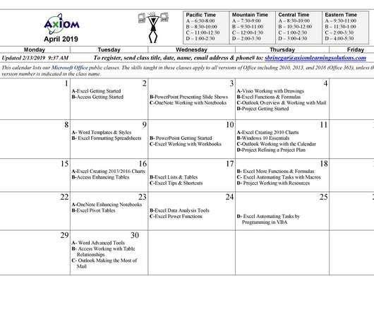 Calendar - eLearning Learning